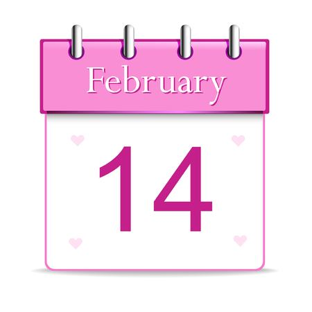 Shiny calendar page showing 14 February for Valentines Day celebration on grey background. Illustration