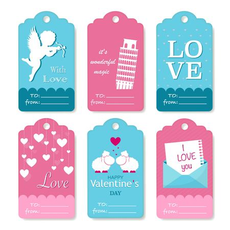 cupido: Set of Valentines Day gift tags typographic vector design with illustrations and wishes. Holiday printable badges and labels with love theme