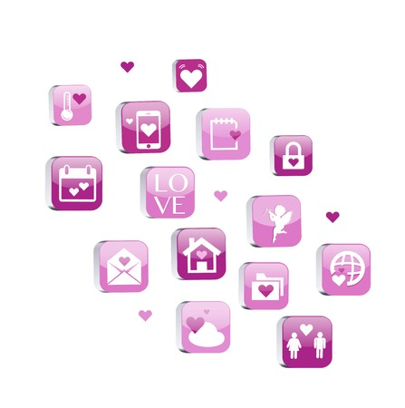 Collect Valentines Day Icons with Hearts, Cupid and decoration element, vector illustration