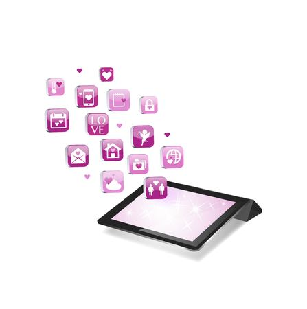 Valentines Day Concept. Tablet PC Isolated