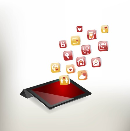 Valentines Day Concept. Tablet PC Isolated on White Background.