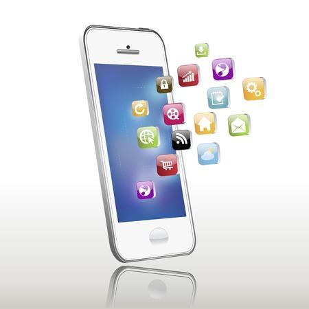 画面から出てくる携帯電話アプリケーションのベクトル イラスト