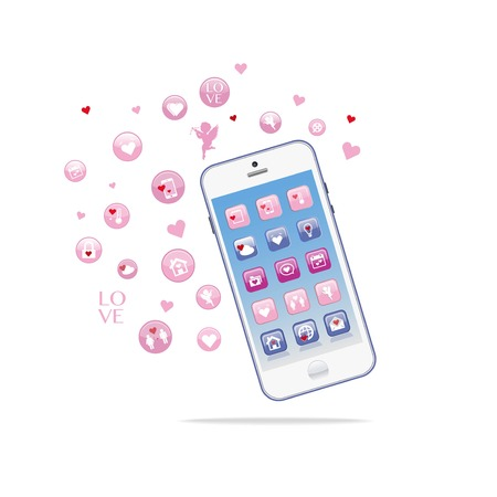 Vector of white Smart phones. Valentine day love theme with hearts. Advertisement banner for phone bundle sale, mobile Stock Illustratie