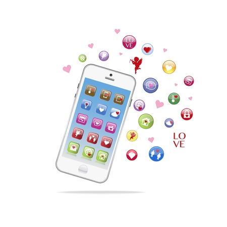 Vector of white Smart phones. Valentine day love theme with hearts. Advertisement banner for phone bundle sale, mobile Иллюстрация