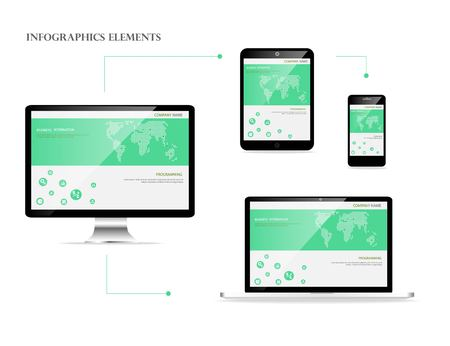 Awesome responsive web design development coding vector concept Stock Illustratie