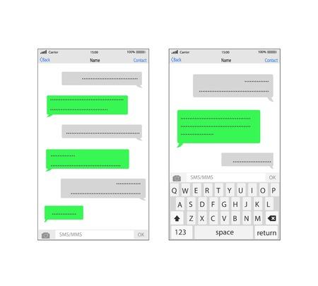 スマート フォンの sms テンプレート泡をチャットします。メッセージは雲に独自のテキストを配置します。  イラスト・ベクター素材