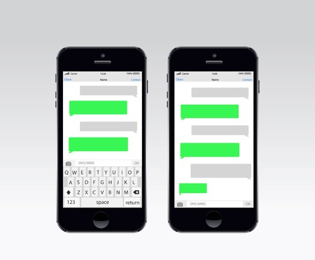 sms text: Smartphone chatting sms template bubbles. Place your own text to the message clouds. Illustration