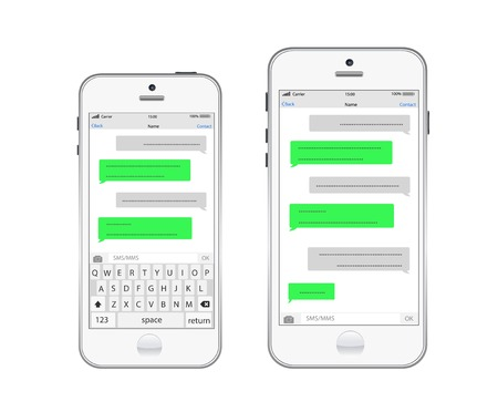 Smartphone chatting sms template bubbles. Place your own text to the message clouds. Stock Illustratie