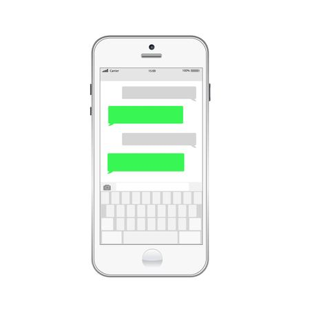 text bubble: Smartphone chatting sms template bubbles. Place your own text to the message clouds. Illustration