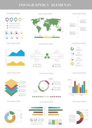インフォ グラフィックの要素のセットです。世界地図と情報グラフィック