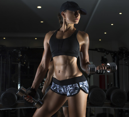 Cropped studio shot of a stunning hot sporty body of a fitness woman Stockfoto