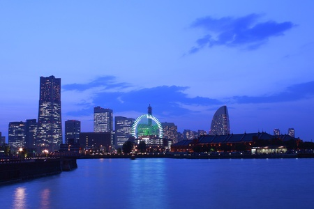 The night view of minato mirai