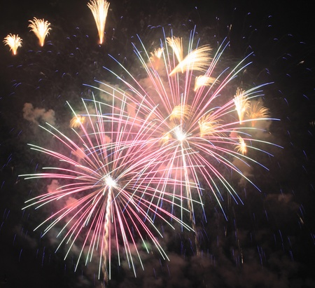 Fireworks at Hanabi festival in Japan  photo
