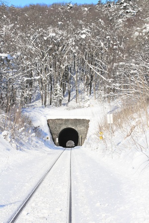 snowfield  and  tunnel Stock Photo
