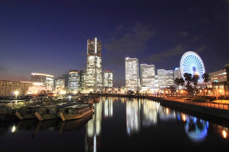The night view of minatomirai Stock Photo