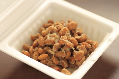 a container of natto(fermented soy beans)  Stock Photo