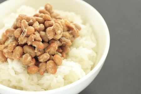 ご飯に納豆 (発酵大豆) 写真素材