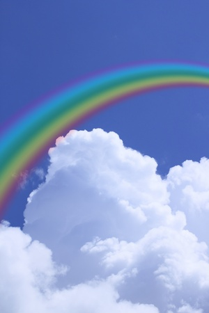 rainbow and cloud in blue sky photo