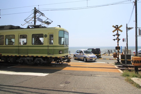 enoshima: Enoshima Electric Railway and blue  sky