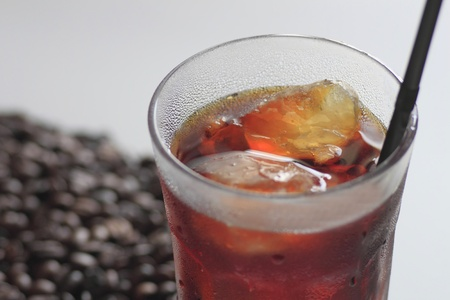 Close up  The Iced coffee