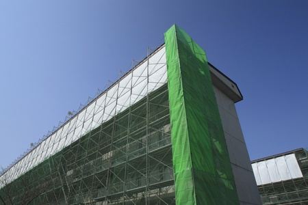 Construction work site  and Scaffolding  in  iwate,japan Editorial
