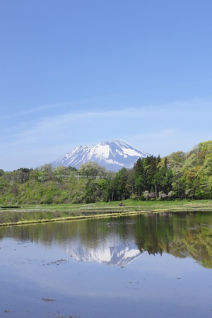 pastoral: Mt Iwate and pastoral landscape  in  Morioka,  Iwate,  Touhoku, Japan