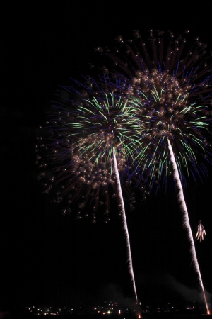 Japanese traditional fireworks in the night sky Stock Photo - 14845093