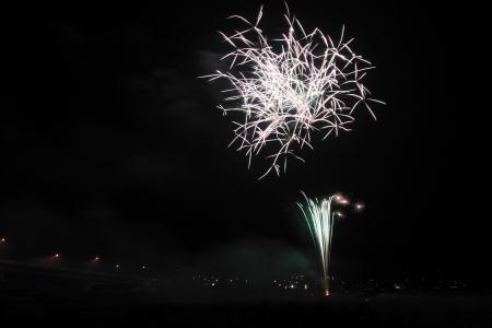 Japanese traditional fireworks in the night sky Stock Photo - 14851404