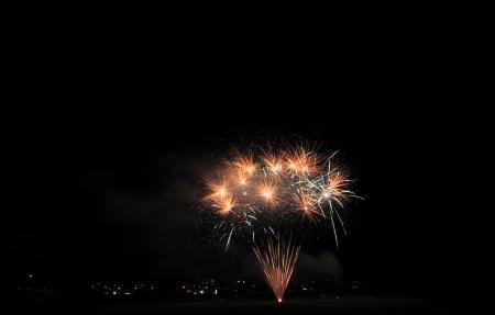 hanabi: Japanese traditional fireworks in the night sky