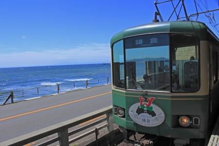 enoshima: Enoshima Electric Railway and sky  in  Kamakura, Japan