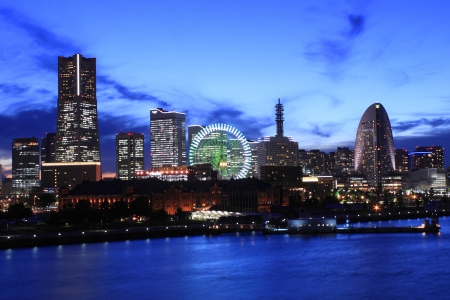 The night view of minatomirai in Yokohama Japan Stock Photo