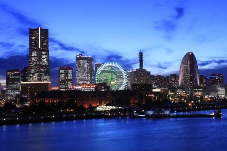 The night view of minatomirai in Yokohama Japan Stock Photo
