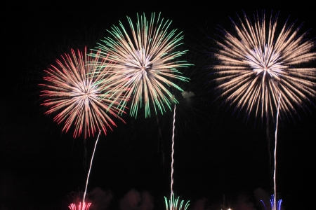 Japanese traditional fireworks against the night sky  in Japan