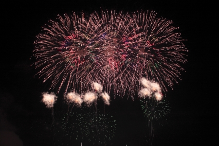 Japanese traditional fireworks against the night sky  in Japan Stock Photo - 15003522