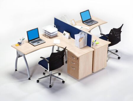 Office workplace on a white background
