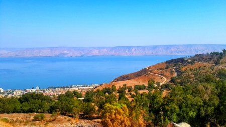 A view to the Sea of Galilee lake from Switzerland Forest in Tiberias, Israel Stock Photo