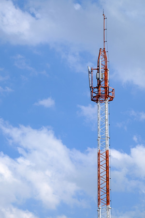 telephone pole: Telephone pole in clear sky Stock Photo