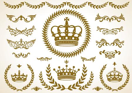 royal family: Crowns, Laurel, ornament set