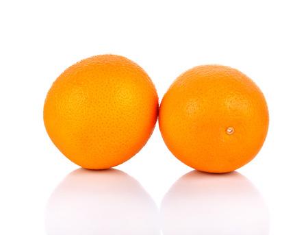 sweet segments: Orange fruit  on white background Stock Photo