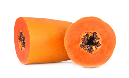 cutaneous: slices of sweet papaya on white background Stock Photo