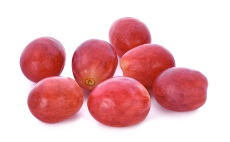 bunch of grapes: red grapes isolated on white background