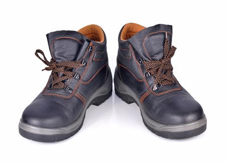 zapatos de seguridad: Zapatos de seguridad aisladas sobre fondo blanco