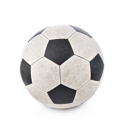 outmoded: Shabby soccer ball on white background Stock Photo