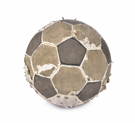 eldest: old soccer ball isolated on white background