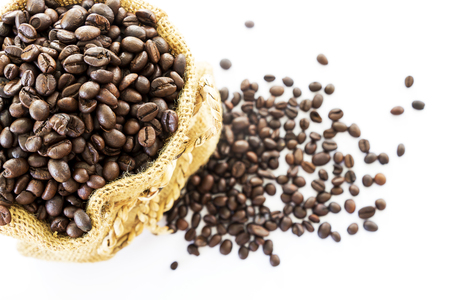 green bean: Coffee beans in a sack on a white background.