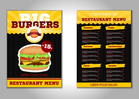 Burger flyer design vector template in A4 size. Brochure and Layout Design. food concept. vector