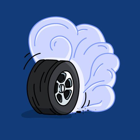 Isolated burnout wheel on a blue background. smoke wheel hand drawn illustration. eps 10