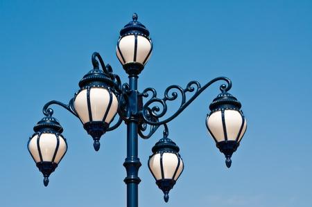 street light against the blue sky  photo