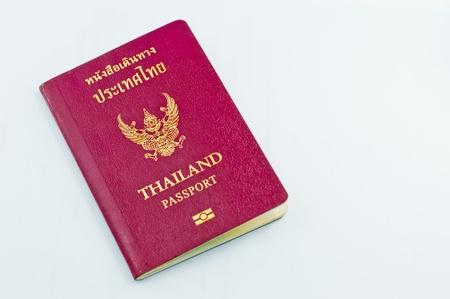 Thailand passport book on white blackground. photo