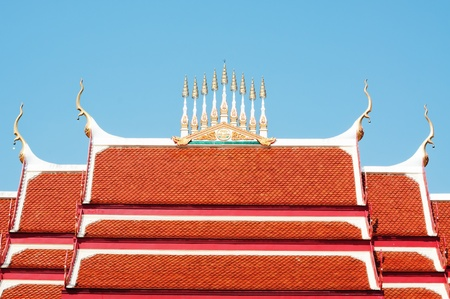 Brand new red rooftop against blue sky.  Stock Photo - 12116653